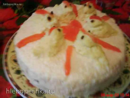 Куриный торт с грибами