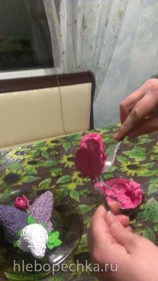 «Цветы на снегу» из крема (мастер-класс)
