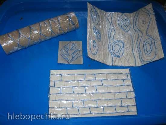 «Фактурные коврики» своими руками (дерево, кирпичная кладка, прожилки листьев)