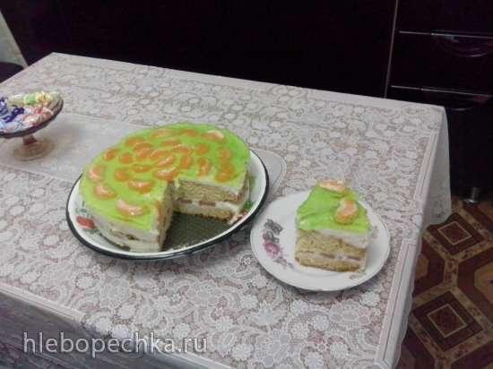 Торт бисквитный клубнично-йогуртовый (без яиц)