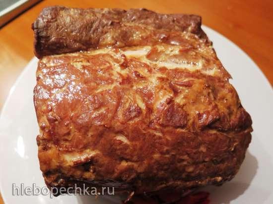 Копчёная свиная шейка в коптильне с гидрозатвором