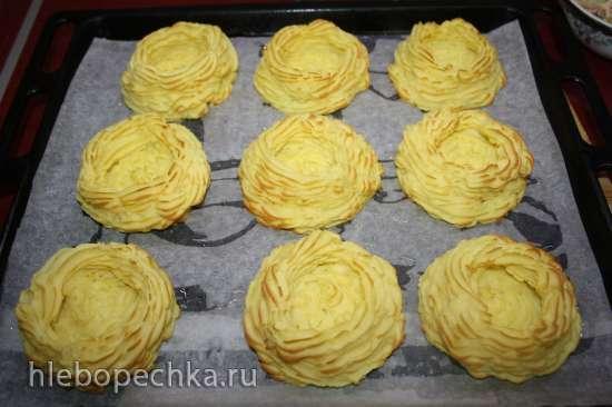 Сливочные креветки в картофельных корзиночках