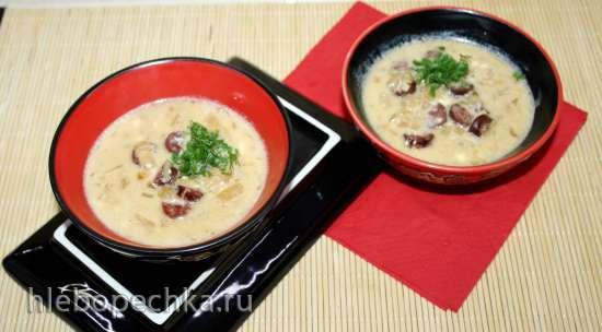 Баварский пивной суп с сыром и копченными колбасками
