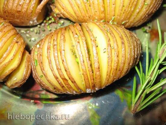 """""""Картофель-гармошка"""" (Hasselback) с чесноком, лимоном и розмарином"""