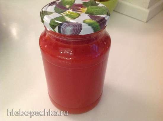 Густой томатный (или любой другой) сок без техники (готовим по-старинке)
