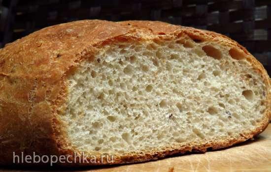 Пшеничный хлеб с льняным семенем на старом тесте и жидких дрожжах