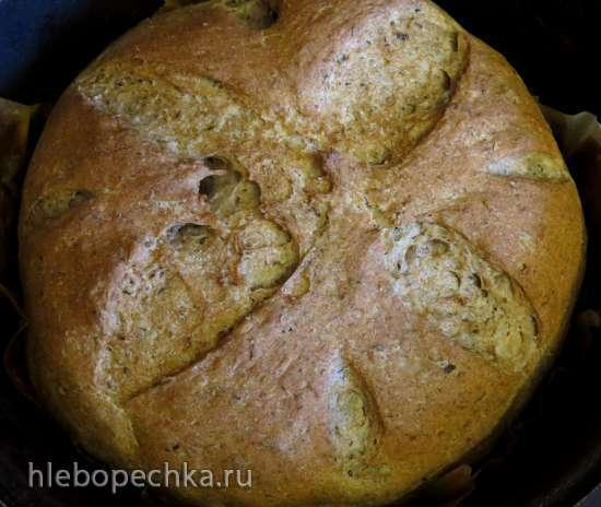 Пшенично-ржаной хлеб с заваркой ферментированного чая и овсяными хлопьями