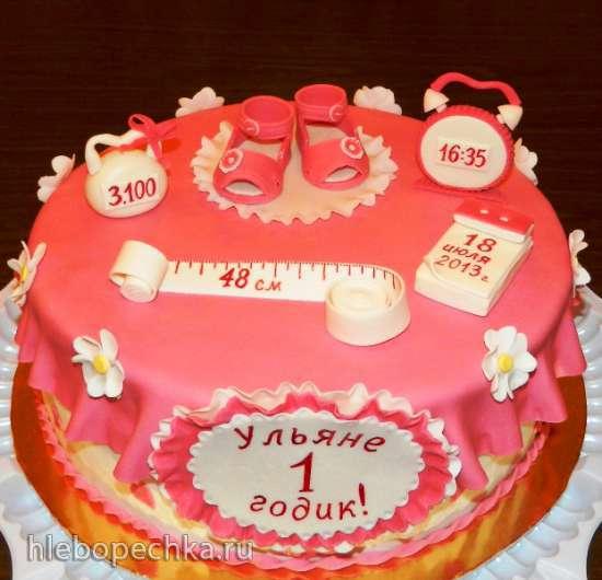 Торт из мастики на годик девочке фото