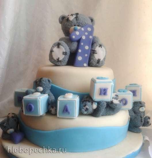 детские мастичные тортики мишки голубые фото