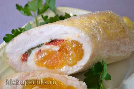 Куриные колбаски-рулетики с курагой и шалфеем «sous-vide»