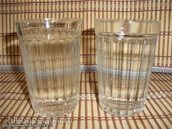 Количество муки и воды в граненом стакане