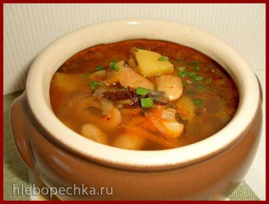 Суп с фасолью «лима» и черносливом