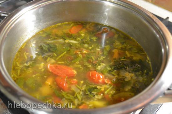Щи зеленые с овощной  ботвой (готовим в цептер без воды)