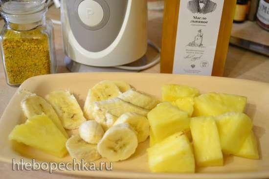 Смузи бананово-ананасовый, с льняным маслом