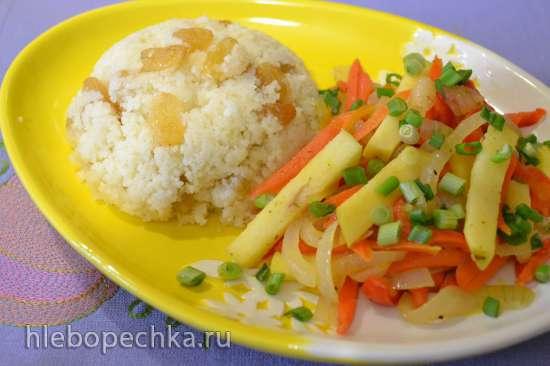 Кус-кус с изюмом и пассерованными овощами