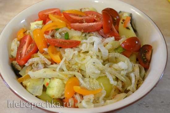 Перепела с овощами на пару