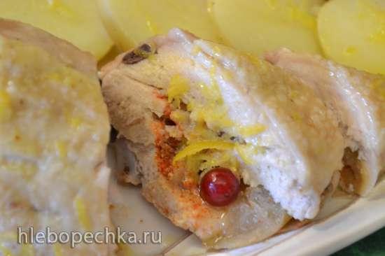 Куриная грудка с яблоком и паприкой (в пароварке)