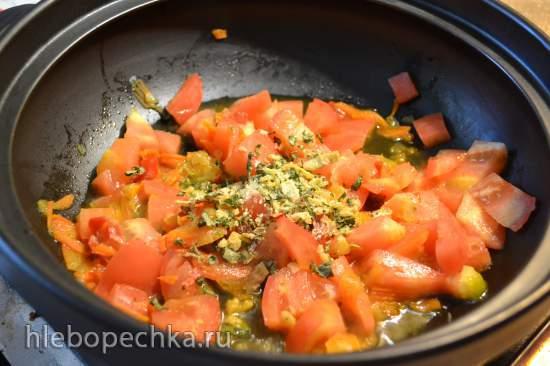 Картофель тушеный с овощами в кедровом молоке