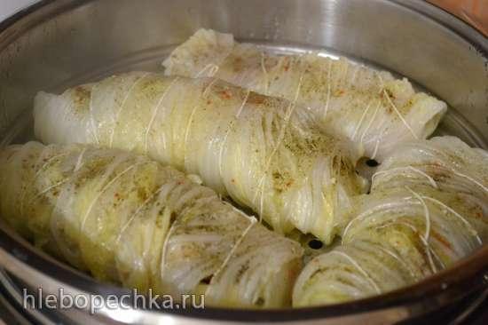 Голубцы из пекинской капусты с палтусом и овощами (пароварка)
