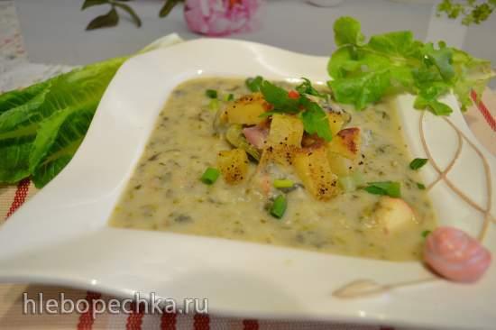 Яблочно-салатный суп-пюре, с запеченным на гриле картофелем