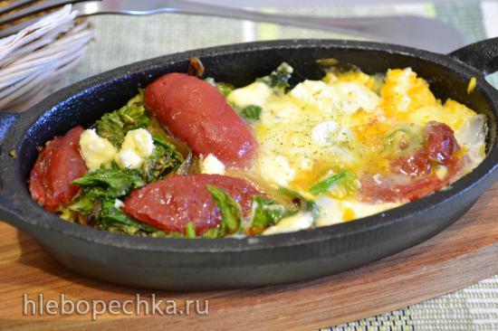 Яичница с капустой кейл, вялеными томатами (для вегетарианцев)