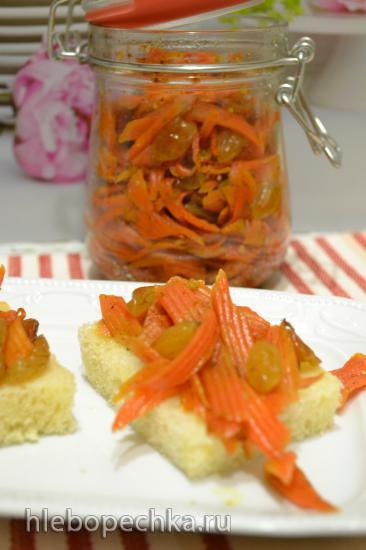 Закуска-перекус из моркови с изюмом (для вегетарианцев и веганов)