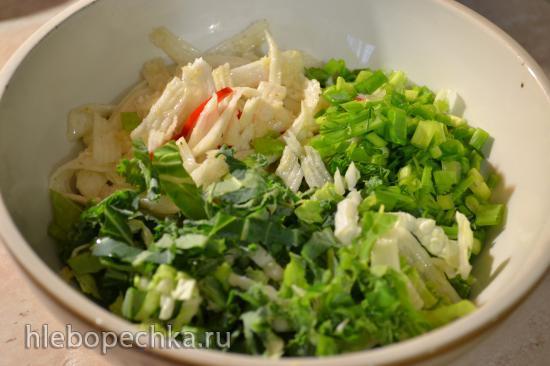 Салат с капустой пекинской, капустой кейл, маринованной репой (для вегетарианцев)