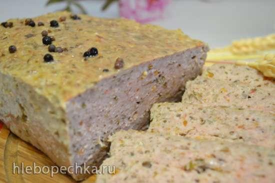 Мясной хлеб с грибной икрой, запеченный в духовке