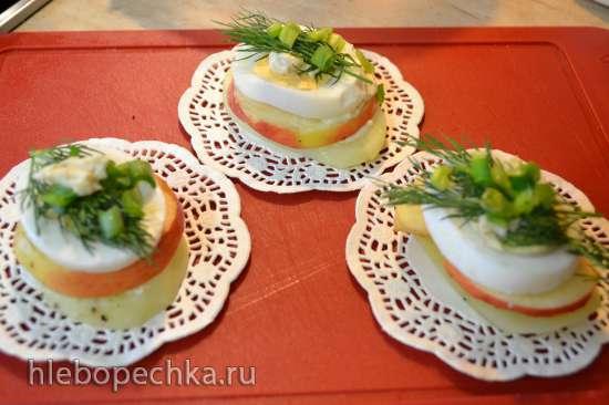 Салат «сельдь под шубой» порционный, с постным майонезом из льняных отрубей