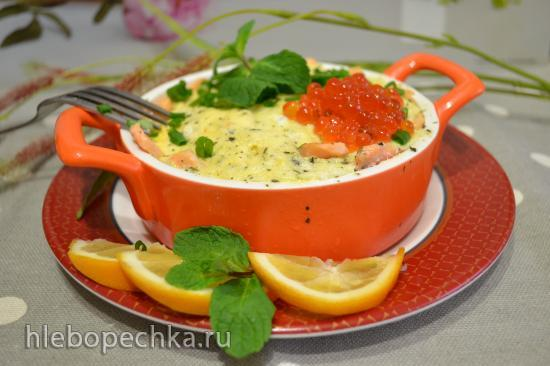 Сливочный омлет с филе лосося на пару