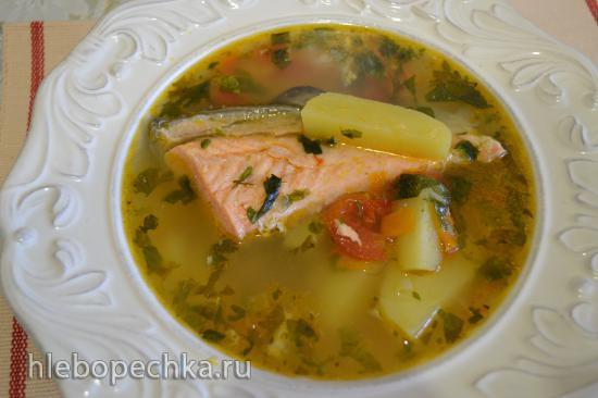 Картофельный суп с форелью (готовим без воды)