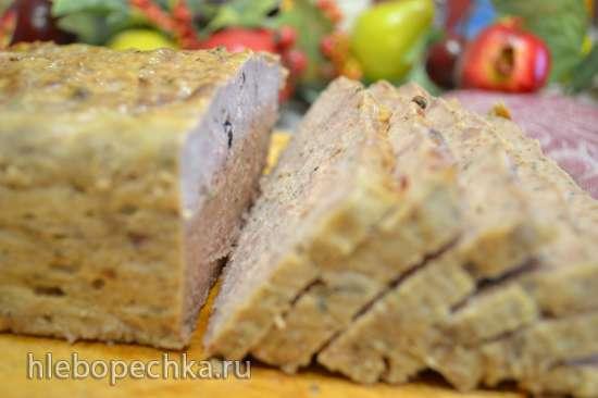 Террин-мясной хлеб из телятины с курицей, с коньяком и розмарином, запеченный в духовке