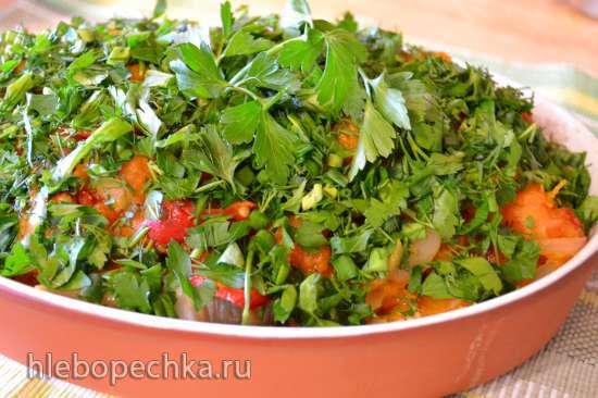 Треска на пару, под овощной «шубой» с тыквой