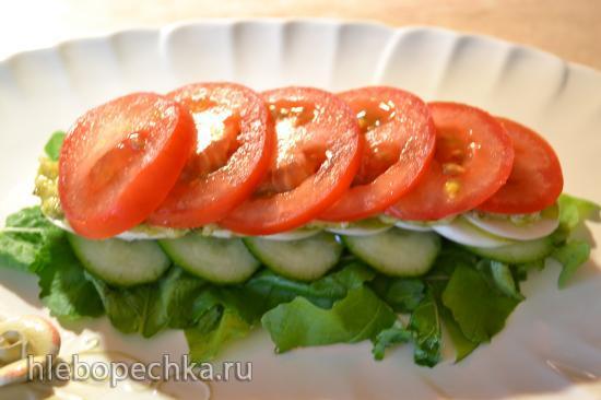 Мильфей овощной со свежей репой и ботвой