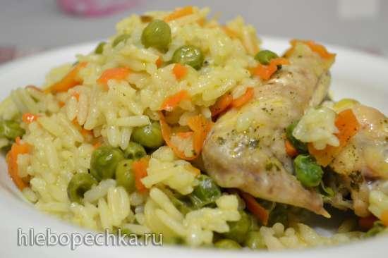 Рис с зеленым горошком и курицей, томленый в духовке