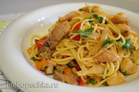 Спагетти с овощным соусом с нельмой