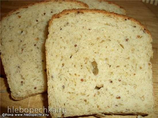 Хлеб пшенично-рисовый с ржаной, овсяной мукой, горчицей и укропом