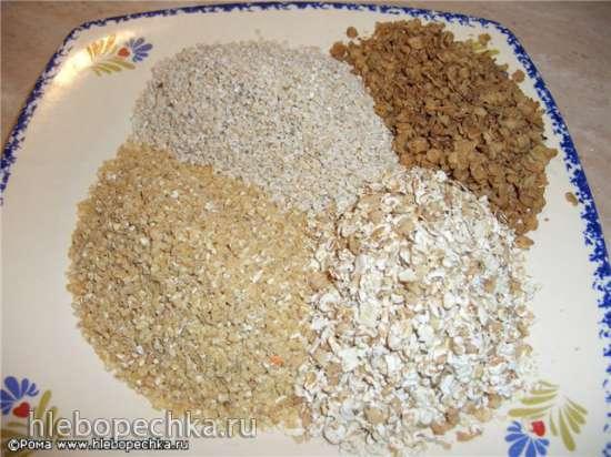 Колобок из пшеничной муки с многозерновой крупкой и хлопьями. Мастер-класс.