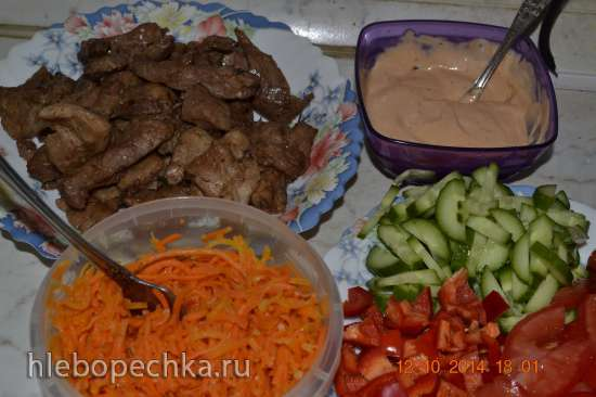 Рулеты с мясом и овощами в лепешке (Пиццамейкер Princess 115000)