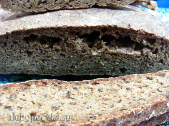 Ржаной хлеб с чесноком, льняным семенем, приправами на закваске из пророщенного льна