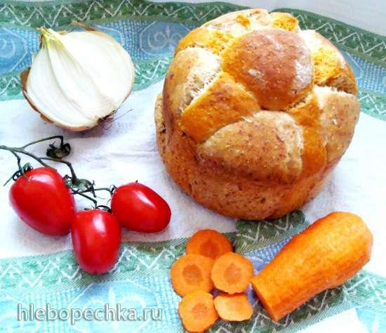 Хлеб Солнышко (с луком, морковью, томатом, сыром)