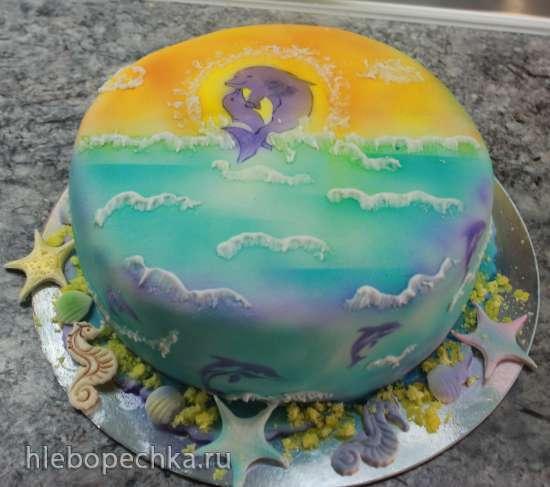 Украшение торта аэрографом