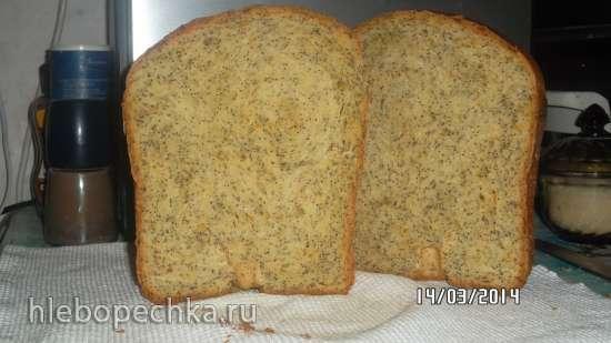 Апельсиновый хлеб с маком (хлебопечка)
