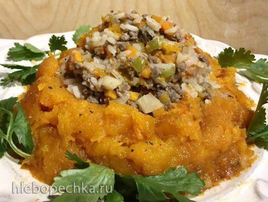 Тыква праздничная запеченная, начиненная фаршем с рисом, овощами и яблоками (Ninja® Foodi® 6.5-qt.)