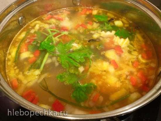 Рыбный суп с рисом и болгарским  перцем (из наваги или любой рыбы)