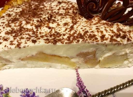 Яблочно-творожный холодный торт со сметанным кремом