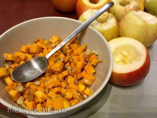 Яблоки печеные, фаршированные тыквой, грецкими орехами, изюмом, корицей с цитрусово-медовой заливкой