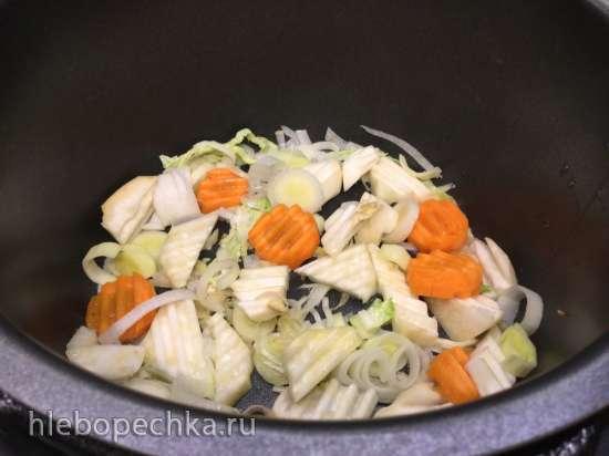 Питер и Юпп - суп с савойской капустой, луком-пореем и колбасками