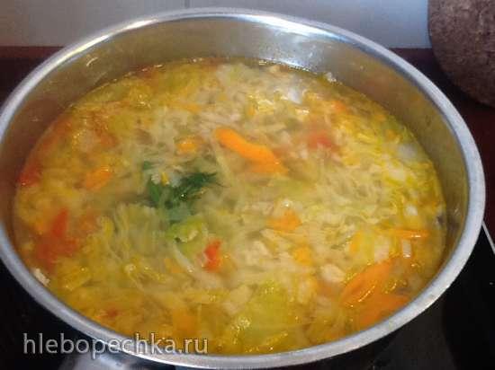 Сырный суп из молодой капусты с овсянкой