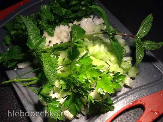 Хамуста - зеленый суп с кубе